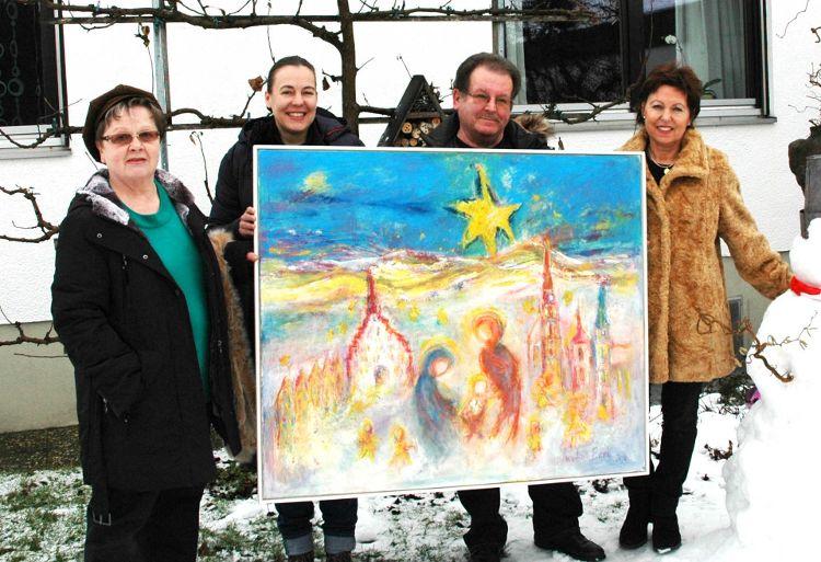 v.l.n.r. Margit Kopp, Eva Diepenseifen (Bürgerstiftung), Horst Zünkler, Monika Bradl (Künstlerin)