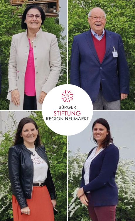 Foto (Inge Meier/Neve Design): Der neue Vorstand ist der alte: Vera Finn, Helmut Rauscher und Sophie Stepper wurden einstimmig vom Stiftungsrat wiedergewählt. Ihre Arbeit unterstützt Alexandra Hiereth. (v. links oben nach rechts unten)